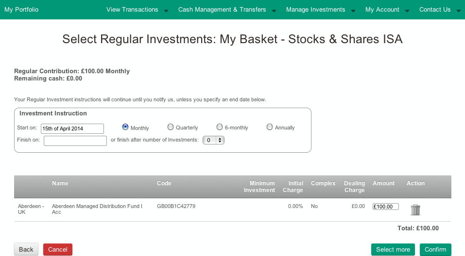 Screenshot of amount for regular investment